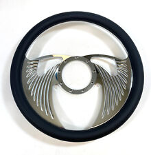 "14"" Billet Aluminum Steering Wheel with Leather Grip Angel Wings Style CNC"