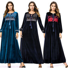 Autumn Women Velvet Maxi Dress Robe Muslim Embroidery Abaya Dubai Jilbab Kaftan