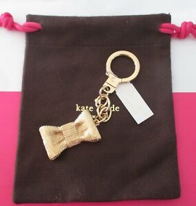 Kate Spade Gold Bow Key Fob Chain Keychain Bag Charm w/Dust Bag NWT RARE