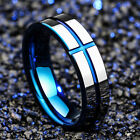 8MM Blue Jesus Cross Tungsten Carbide Ring Men's Jewelry Wedding Band Size 6-13
