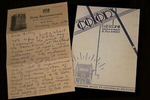 Walt Disney Letter to Lillian w/ PROGRAM Colony Theatre 1928 2003 Mickey Mouse