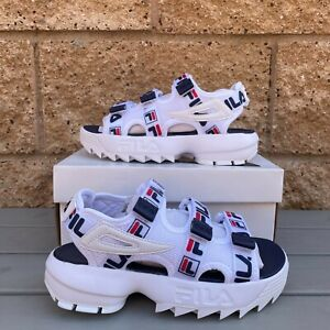 FILA DISRUPTOR WOMEN'S CLASSIC WHITE/RED WITH STRAP LIFESTYLE SANDAL US6