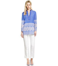 Tory Burch Tory Zita Embroidered Tunic 4  Blue Swim Classic Cruise S NWT