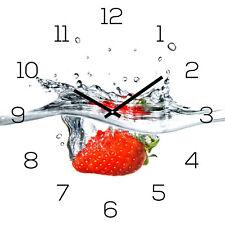 Reloj De Pared Cristal 30x30cm Cuadro Fresa Rojo agua FRUTA FRUIT cocina