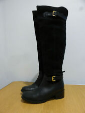 Carvela black leather suede over knee classic long riding boots 38 5 VGC