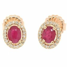 NEW 14k Rose Gold 2.54ctw Solitaire Oval Ruby w/ Diamond Halo Post Stud Earrings