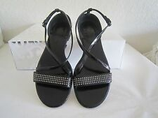 Burberry Black Patent Leather Strappy Studded Sandals Sz  37 Us 7