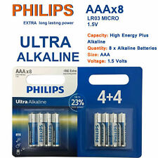 8 X Pack of 1.5V AAA Philips Alkaline Ultra Power Long Life Batteries LR03 UK