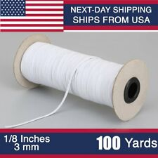 100 Yards 3mm Braided mask Elastic Band Cord Knit Band Sewing 1/8 inch USA Stock