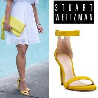 Stuart Weitzman Square Nudist 75mm Ankle Strap Sandals Yellow Suede Size US 9