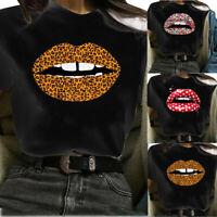 Women Top Lips Printed Short Sleeve T Shirt Ladies Round Neck Blouse Tee Tops