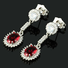 Lady 18K White Gold Plated Cubic Zirconia Oval Red Ruby Drop Dangle Earrings