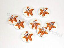 8 HOLZKNÖPFE - Kinderknöpfe - Maritim-Seestern-orange