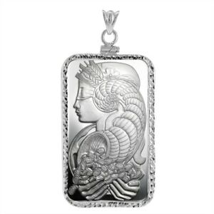 Sterling Silver Screw Top Diamond Cut Bezel and Pamp Suisse Fortuna 1 oz Bar