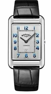 Rotary GS05280-70 Men's Cambridge Oblong Wristwatch with Black Leather Band