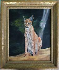 Vintage Signed Oil Painting Bobcat Cat Panther Animal Harold Klotzer Florida 95