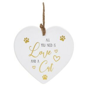 Ceramic White, Gold & Black Love Cat Heart Wall Hanging Plaque Home Sign Glitter