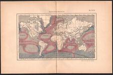 1894 Belle lithographie carte courants marins physique géographie mers océans