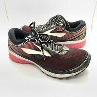 Womens Brooks Ghost 10 Athletic Running Shoes Black Pink Size 9