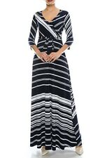 Janette Fashions Ivory Navy Blue Striped Overlap Bodice Skirt Maxi Dress S M L