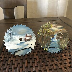 Hand Painted Saw Blades Watermill Country & Red Barn Winter Scene