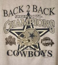 Vintage BACK 2 BACK SUPERBOWL CHAMPIONS Dallas Cowboys Size XL T-Shirt