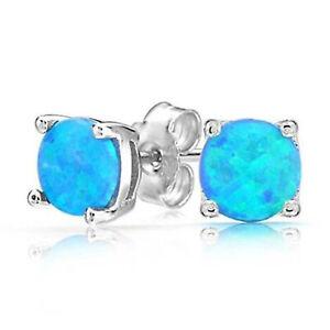 Women Classic 925  Silver Round Cut Blue Fire Opal Stud Earrings HOT!