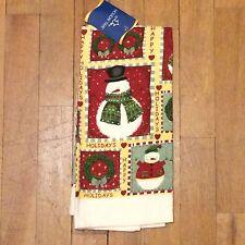 Happy Holidays Snowman Christmas Wreath Kitchen Towel - Green Burgundy Hearts