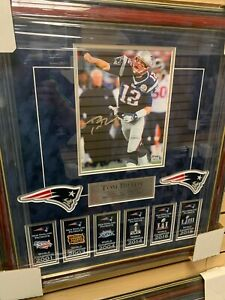 Tom Brady Signed Autographed Photo Custom Framed to 20x22 PSA