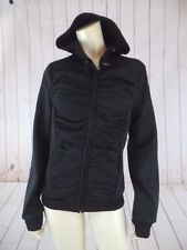 Yoki Outerwear Hoodie Jacket XL Black Poly Stretch Zip Front Shirred Design New
