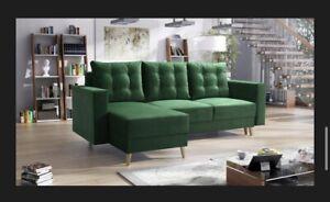 corner sofa bed living room left right GREEN FABRIC VELVET !