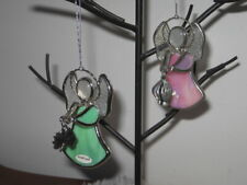 "Lot of 2 Ganz Glass Angel Ornaments Euc Pink ""Prayers"" & Green ""Good Luck"""