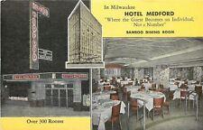 Milwaukee Wisconsin~Hotel Medford & Bamboo Dining Room~ART DECO Entrance~1940s