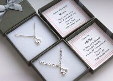 BRIDESMAID HEARTS NECKLACE PERSONALISED GIFT BOX FLOWER GIRL THANK YOU KEEPSAKE