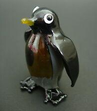 Cristal de Vidrio Pintado Todo Negro Rey Pingüino Figura Animal De Vidrio Soplado Ornamento
