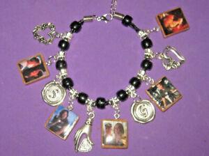 "CSI-""Grissom & Sara"" -Beaded Slider Charm Bracelet"