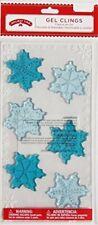 NEW Christmas Winter Blue Snowflakes window Gel Clings 6 pcs Decorations Frozen!