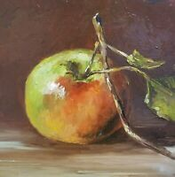 Apple original oil painting a day, still life signed, fruit 8x8, framed, 2017
