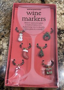 Boston Warehouse Christmas Holiday Wine Glass Drink Markers Charms Set of 6 NEW