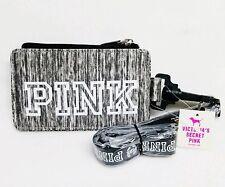 NEW Victoria's Secret Pink GREY MARL Lanyard ID Holder Case Sleeve Pouch School.