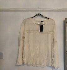 BNWT OLTRE WOMEN'S CREAM TOP WITH LACE DETAIL SIZE L