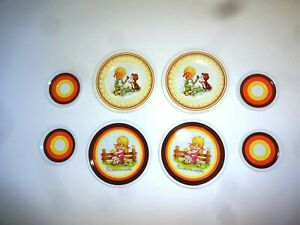 Vintage Ohio Art Tin Toy Dishes Plates Saucers Mod Stripes Girl Chicks Puppy