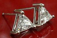 .65 ct Trillion-cut G Color VS2 Clarity Diamond stud earrings 14k White Gold