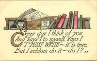 Arts Crafts Must ride Cobweb Saying C-1910 Postcard Dudley 12357