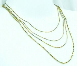 """Real 14K Solid Gold Tricolor Multi Tone Diamond cut Rope chain Necklace 16 - 24"""""""