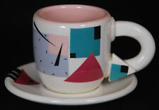 Vintage Rita Duvall Signed Postmodern Memphis Style Cup and Saucer Set From 1987
