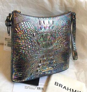 New Brahmin Melbourne Katie Iridescent Leather Crossbody Bag MOTHER OF PEARL