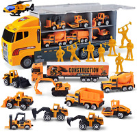Die Cast Construction Truck Vehicle Toddler Car Toys Set Play Vehicles Carrier
