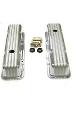 1958-1986 SBC Chevy 350 Retro Finned Polished Aluminum Tall Valve Covers 327 400