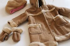 Baby GAP M 6-12Month Khaki coat with hat &mittens